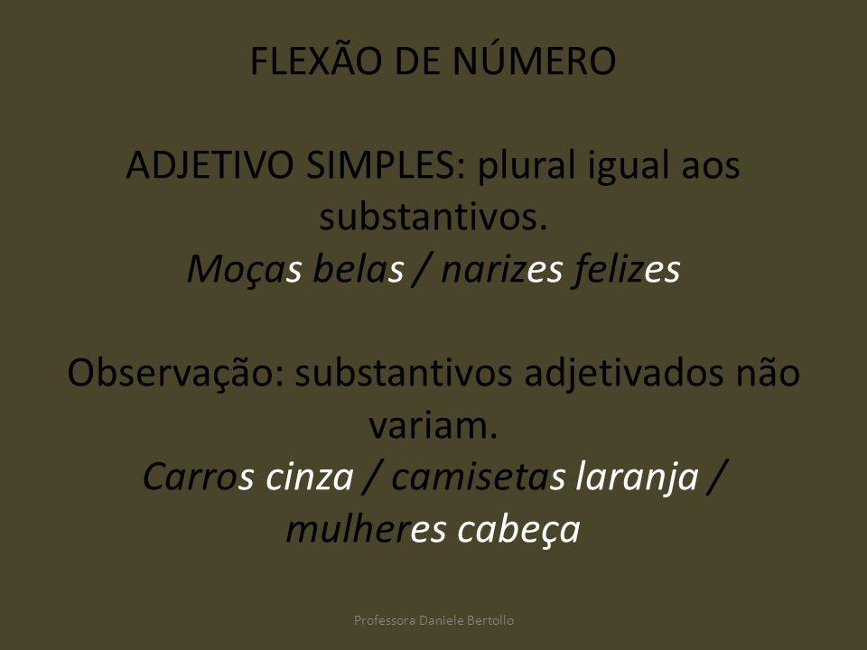 FLEXÃO DE NÚMERO ADJETIVO SIMPLES: plural igual aos substantivos. Moças belas / narizes felizes Observação: substantivos adjetivados não variam. Carro
