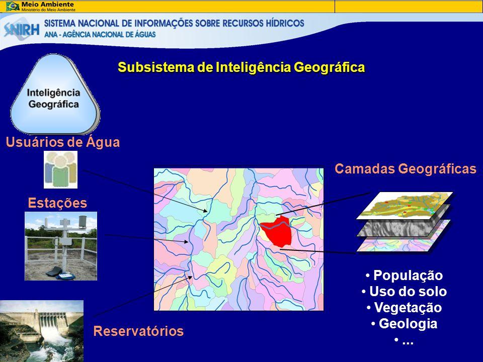 Subsistema de Inteligência Geográfica Usuários de Água Estações Reservatórios Camadas Geográficas • População • Uso do solo • Vegetação • Geologia •..