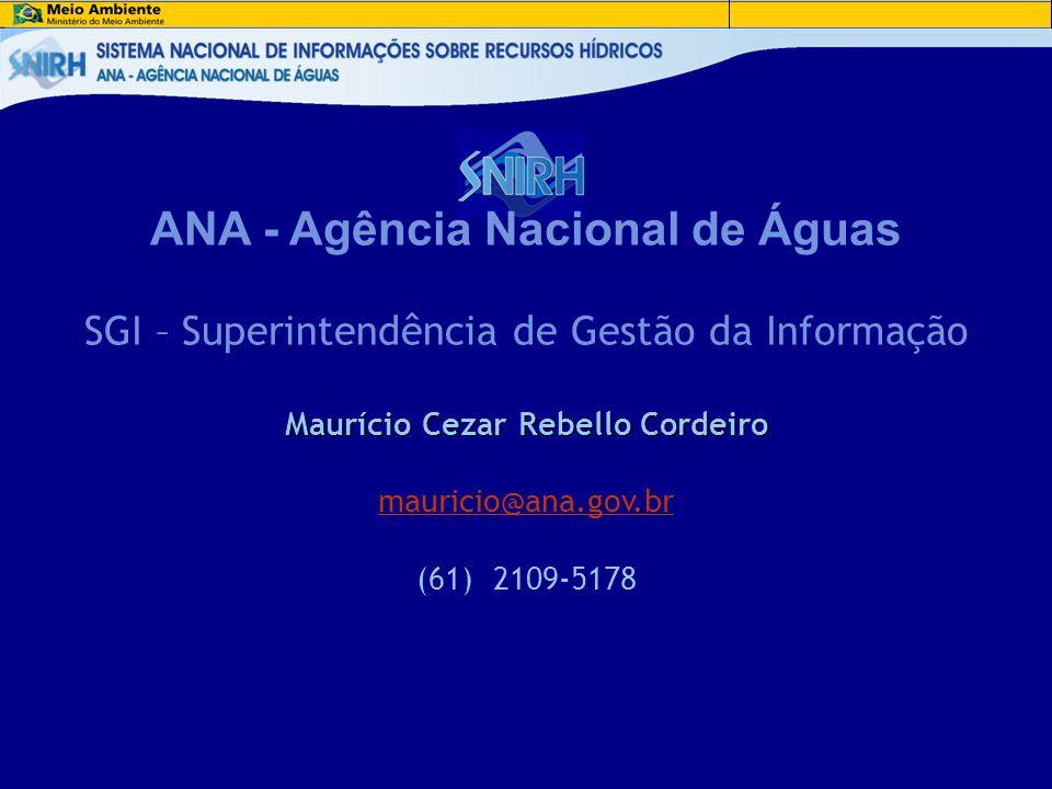 Maurício Cezar Rebello Cordeiro ANA - Agência Nacional de Águas SGI – Superintendência de Gestão da Informação Maurício Cezar Rebello Cordeiro maurici