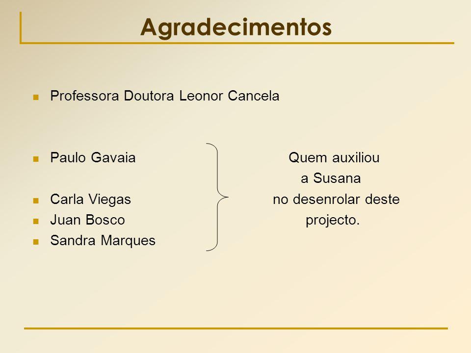 Agradecimentos  Professora Doutora Leonor Cancela  Paulo Gavaia Quem auxiliou a Susana  Carla Viegas no desenrolar deste  Juan Bosco projecto.  S