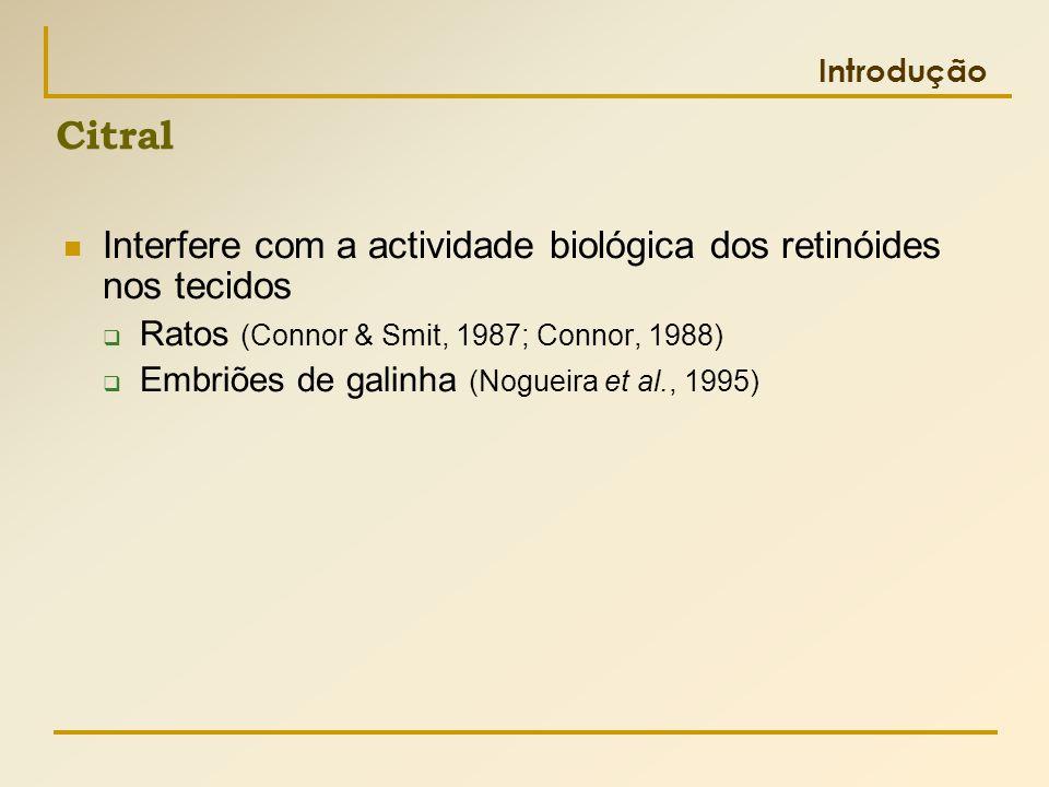 Introdução  Interfere com a actividade biológica dos retinóides nos tecidos  Ratos (Connor & Smit, 1987; Connor, 1988)  Embriões de galinha (Noguei