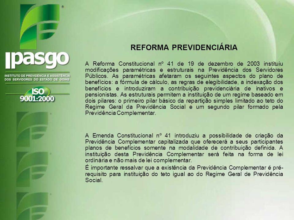 REFORMA PREVIDENCIÁRIA A Reforma Constitucional nº 41 de 19 de dezembro de 2003 instituiu modificações paramétricas e estruturais na Previdência dos S