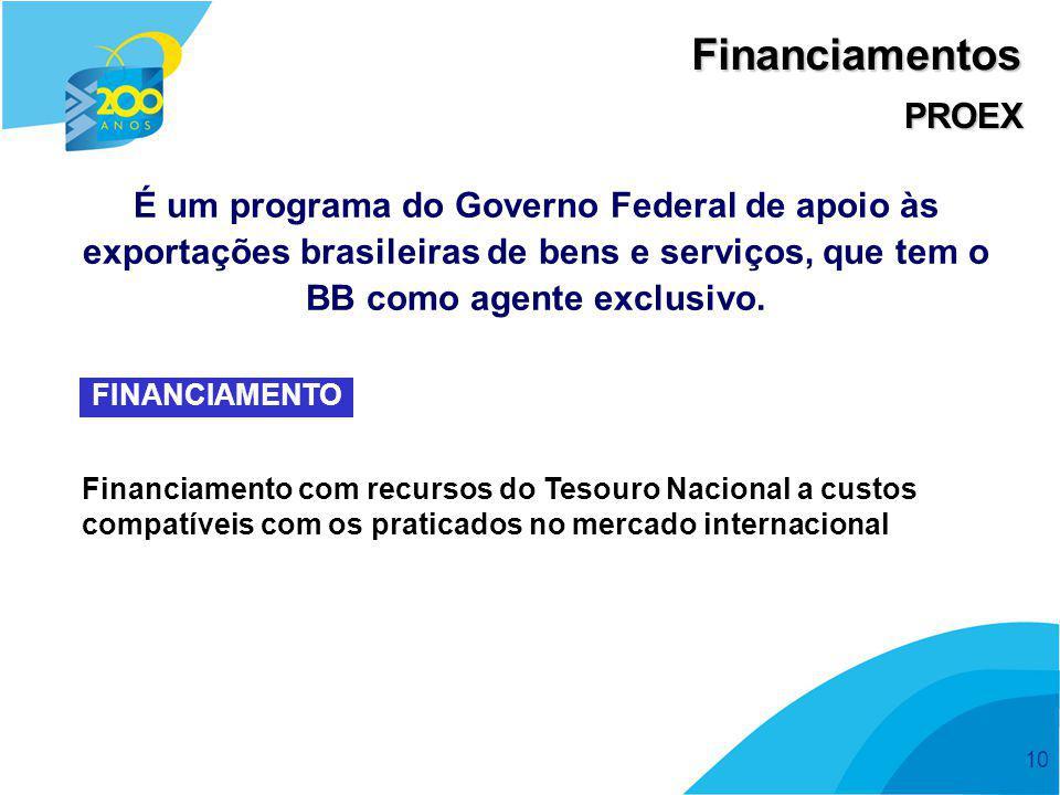 10 Financiamentos PROEX É um programa do Governo Federal de apoio às exportações brasileiras de bens e serviços, que tem o BB como agente exclusivo. F