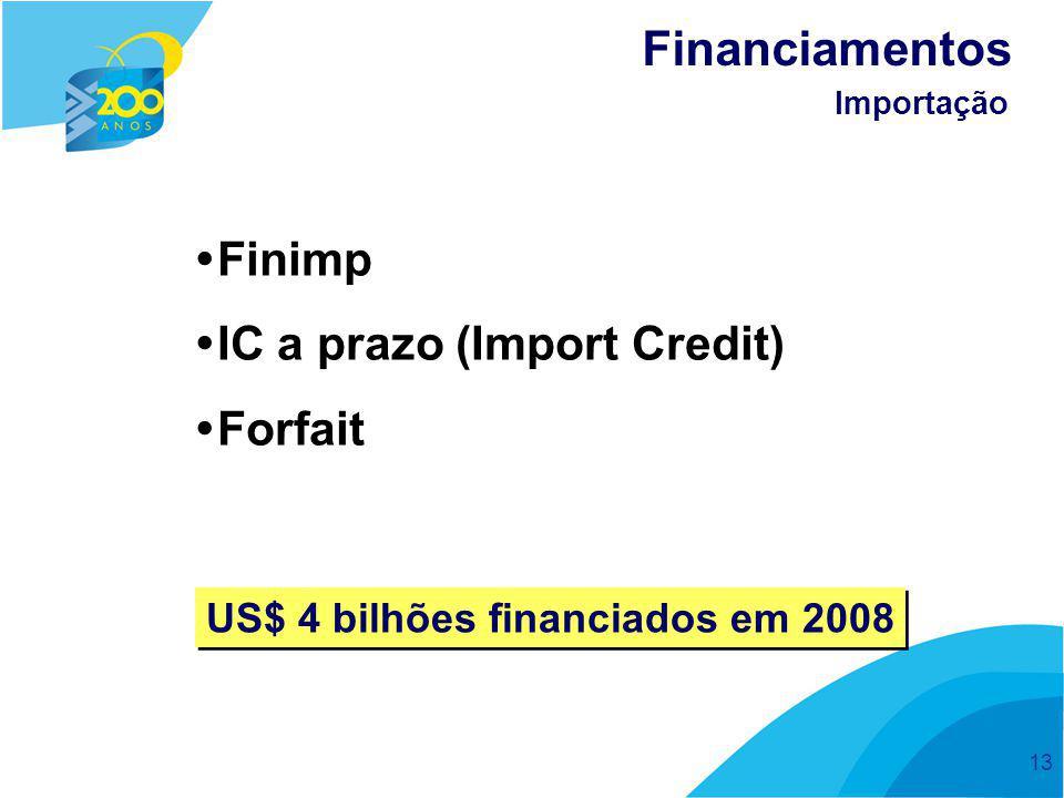 13  Finimp  IC a prazo (Import Credit)  Forfait Financiamentos Importação US$ 4 bilhões financiados em 2008