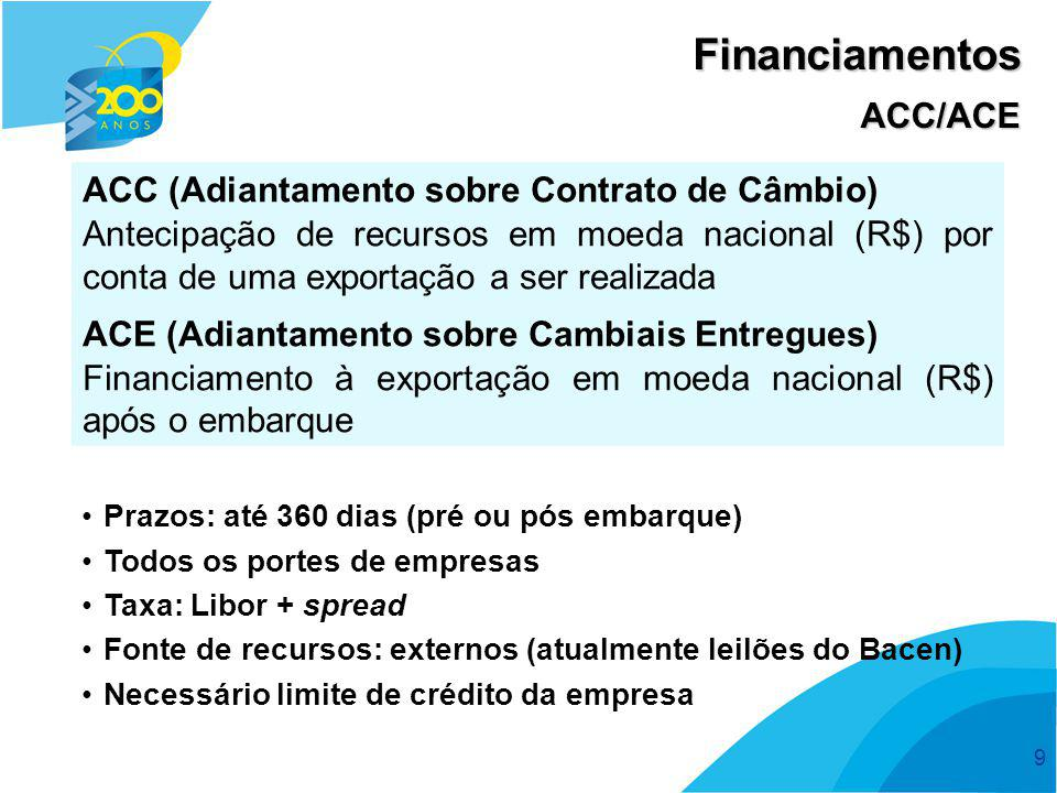 10 Financiamentos PROEX É um programa do Governo Federal de apoio às exportações brasileiras de bens e serviços, que tem o BB como agente exclusivo.
