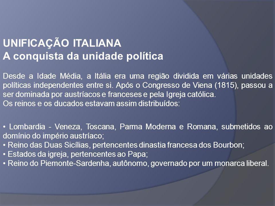 UNIFICAÇÃO ITALIANA A conquista da unidade política Desde a Idade Média, a Itália era uma região dividida em várias unidades políticas independentes e