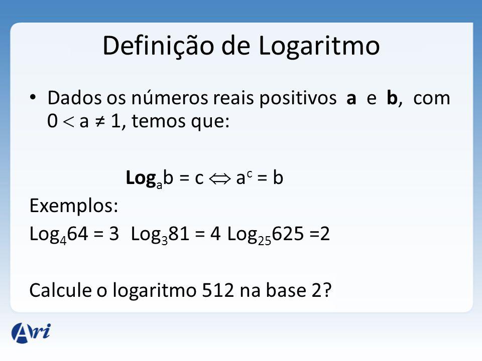 Definição de Logaritmo • Dados os números reais positivos a e b, com 0  a ≠ 1, temos que: Log a b = c  a c = b Exemplos: Log 4 64 = 3 Log 3 81 = 4 L