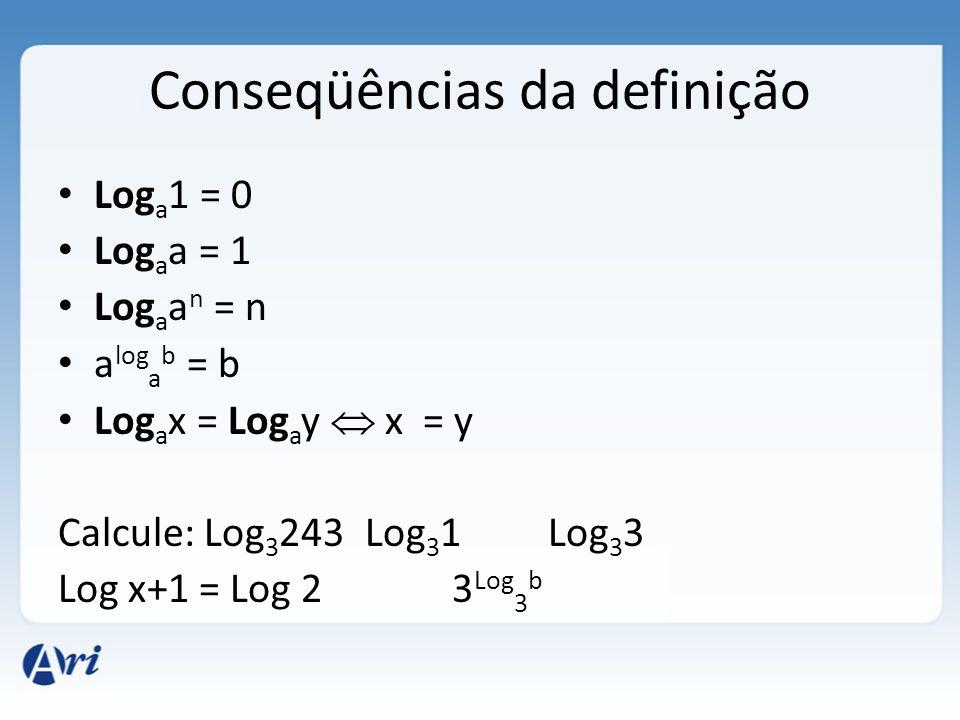 Conseqüências da definição • Log a 1 = 0 • Log a a = 1 • Log a a n = n • a log a b = b • Log a x = Log a y  x = y Calcule: Log 3 243 Log 3 1 Log 3 3