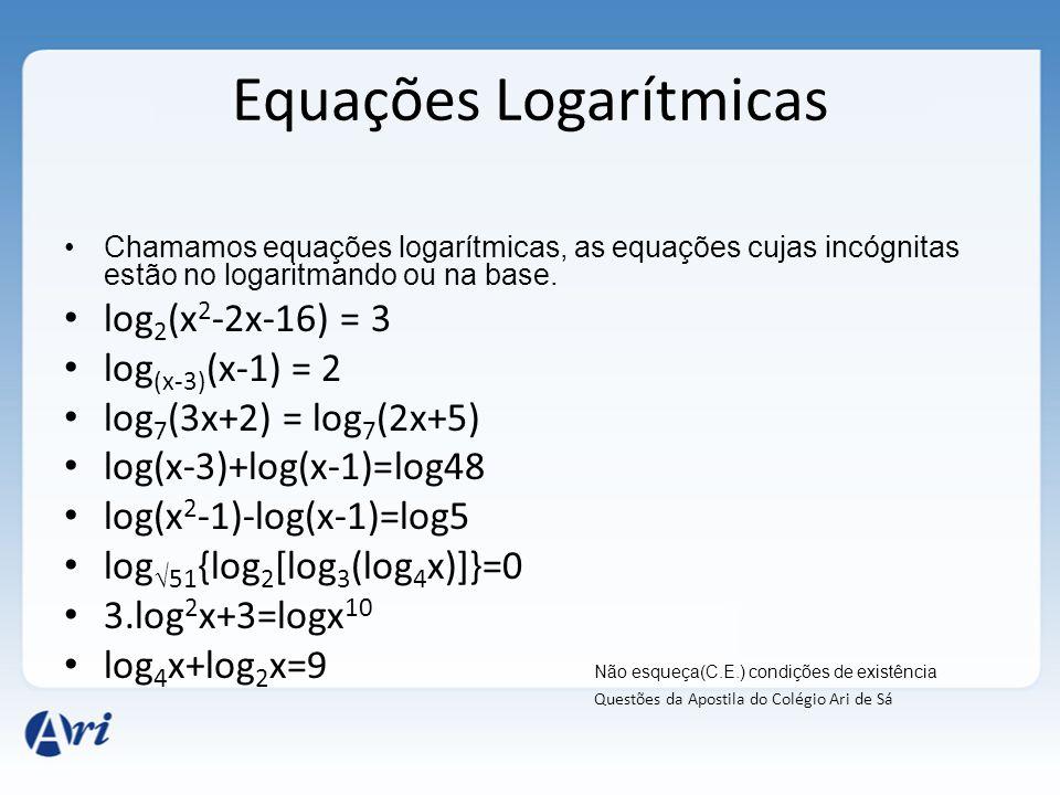 Equações Logarítmicas •Chamamos equações logarítmicas, as equações cujas incógnitas estão no logaritmando ou na base. • log 2 (x 2 -2x-16) = 3 • log (