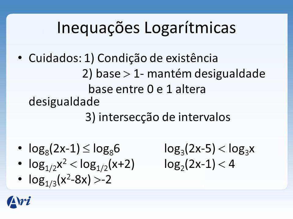 Inequações Logarítmicas • Cuidados: 1) Condição de existência 2) base  1- mantém desigualdade base entre 0 e 1 altera desigualdade 3) intersecção de