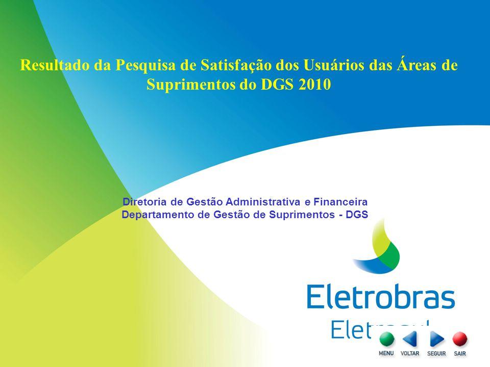Resultado da Pesquisa de Satisfação dos Usuários das Áreas de Suprimentos do DGS 2010 Diretoria de Gestão Administrativa e Financeira Departamento de Gestão de Suprimentos - DGS