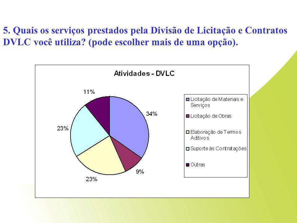 5.Quais os serviços prestados pela Divisão de Licitação e Contratos DVLC você utiliza.