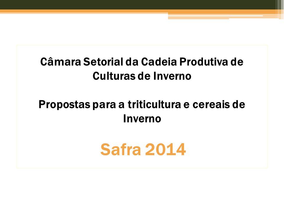 Câmara Setorial da Cadeia Produtiva de Culturas de Inverno Propostas para a triticultura e cereais de Inverno Safra 2014