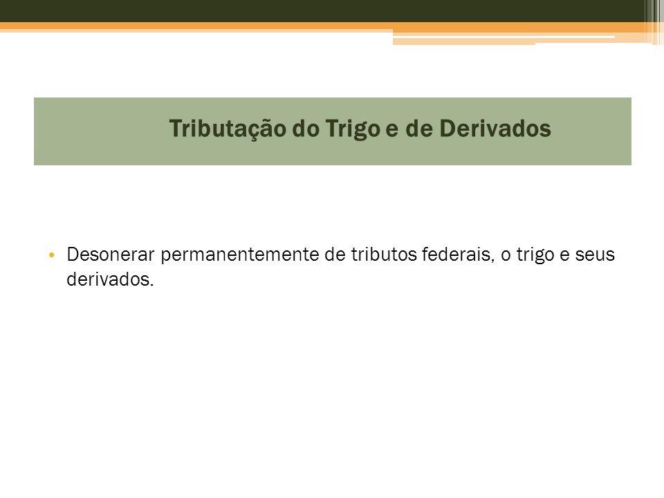 Tributação do Trigo e de Derivados • Desonerar permanentemente de tributos federais, o trigo e seus derivados.