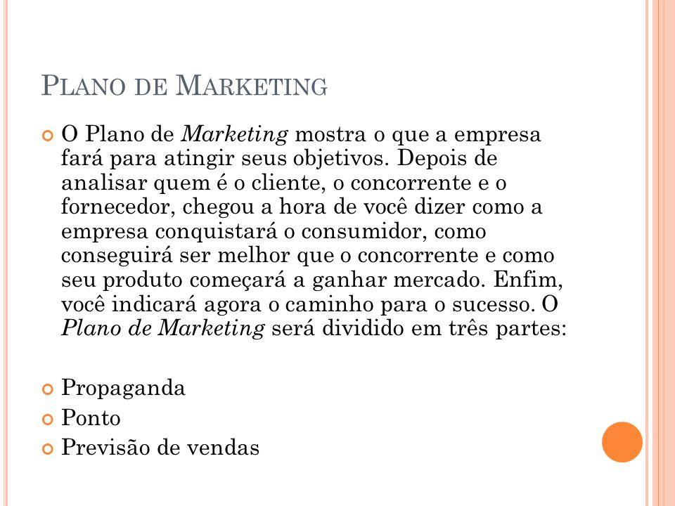 P LANO DE M ARKETING O Plano de Marketing mostra o que a empresa fará para atingir seus objetivos. Depois de analisar quem é o cliente, o concorrente