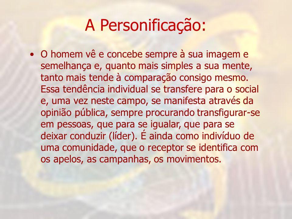 A Personificação: •O homem vê e concebe sempre à sua imagem e semelhança e, quanto mais simples a sua mente, tanto mais tende à comparação consigo mes