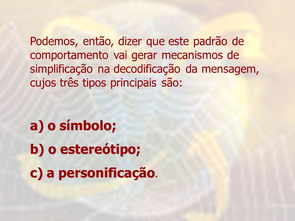 Podemos, então, dizer que este padrão de comportamento vai gerar mecanismos de simplificação na decodificação da mensagem, cujos três tipos principais são: a) o símbolo; b) o estereótipo; c) a personificação c) a personificação.