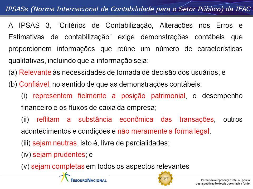 Permitida a reprodução total ou parcial desta publicação desde que citada a fonte. IPSASs (Norma Internacional de Contabilidade para o Setor Público)