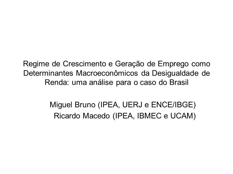 •Objetivo: Efeitos do regime de crescimento econômico sobre criação de emprego e distribuição de renda.