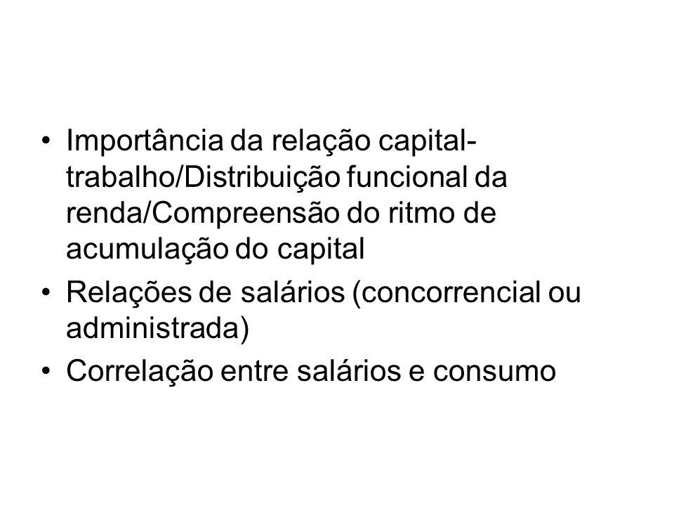 •Importância da relação capital- trabalho/Distribuição funcional da renda/Compreensão do ritmo de acumulação do capital •Relações de salários (concorr