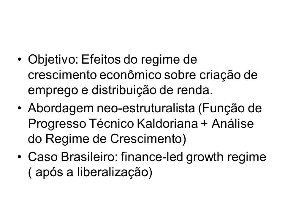 •Objetivo: Efeitos do regime de crescimento econômico sobre criação de emprego e distribuição de renda. •Abordagem neo-estruturalista (Função de Progr