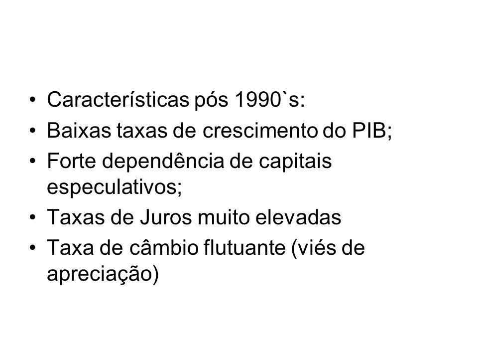 •No Brasil: •Especialização regressiva na indústria brasileira – maior dependência das exportações e da absorção da poupança externa •Problema: superar seus limites estruturais ao desenvolvimento econômico.