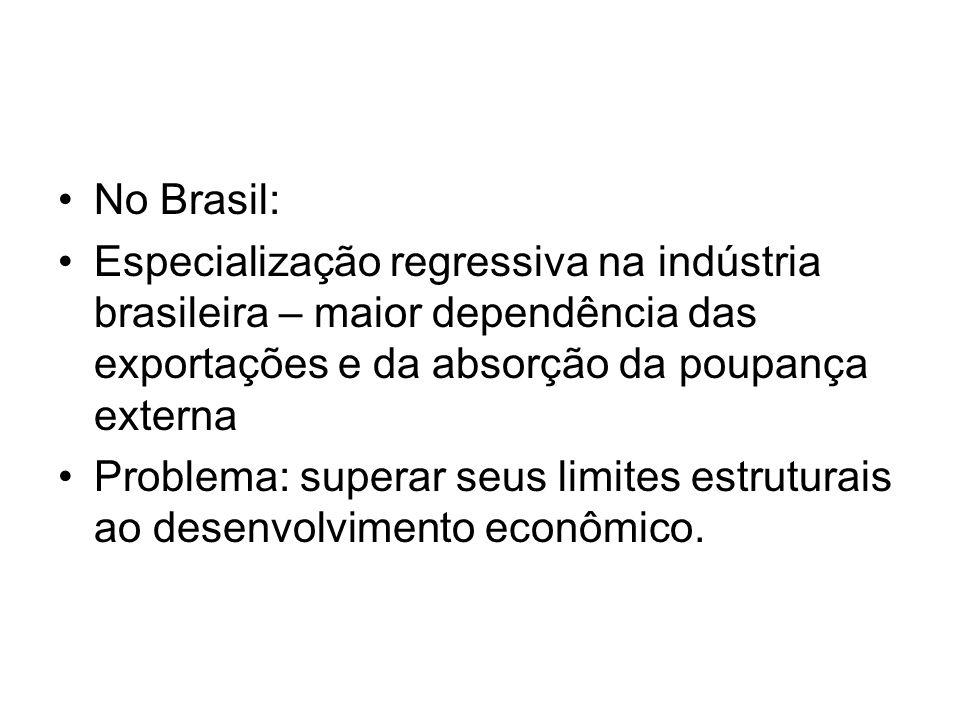 •No Brasil: •Especialização regressiva na indústria brasileira – maior dependência das exportações e da absorção da poupança externa •Problema: supera