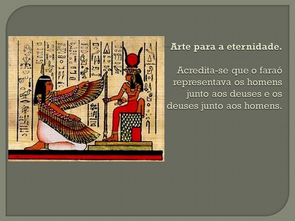 • Hieróglifos: considerados uma escrita sagrada; • Hierática: uma escrita mais simples, utilizada pela nobreza e pelos sacerdotes; • Demótica: uma escrita popular.