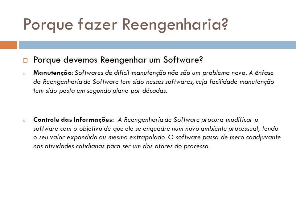 Porque fazer Reengenharia. Porque devemos Reengenhar um Software.