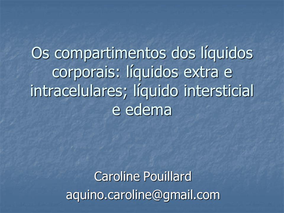Os compartimentos dos líquidos corporais: líquidos extra e intracelulares; líquido intersticial e edema Caroline Pouillard aquino.caroline@gmail.com