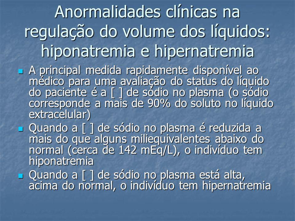 Anormalidades clínicas na regulação do volume dos líquidos: hiponatremia e hipernatremia  A principal medida rapidamente disponível ao médico para um