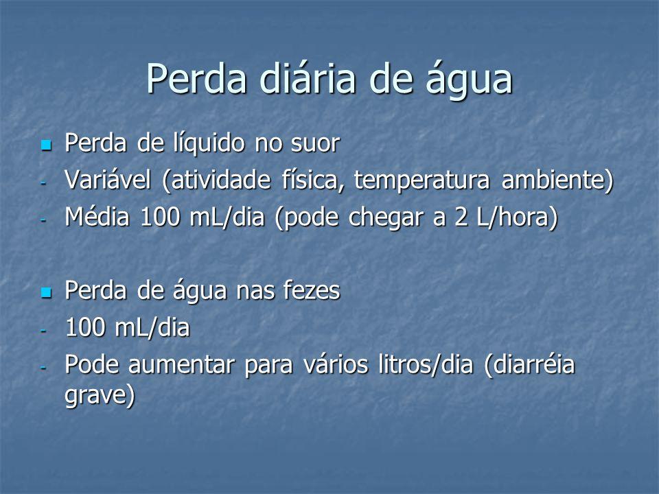 Perda diária de água  Perda de líquido no suor - Variável (atividade física, temperatura ambiente) - Média 100 mL/dia (pode chegar a 2 L/hora)  Perd