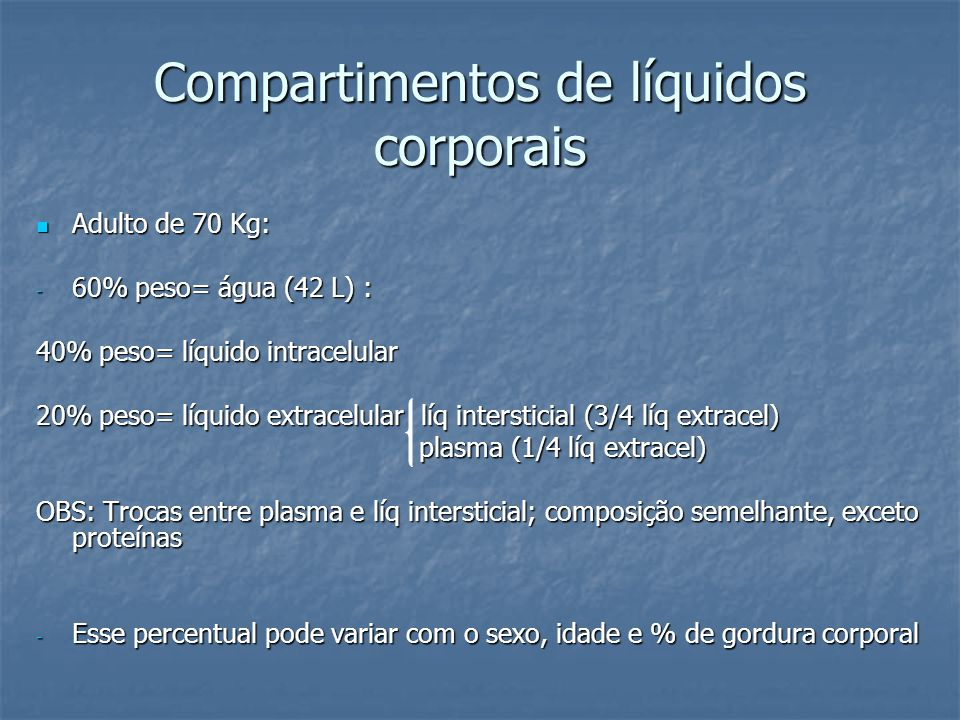 Compartimentos de líquidos corporais  Adulto de 70 Kg: - 60% peso= água (42 L) : 40% peso= líquido intracelular 20% peso= líquido extracelular líq in