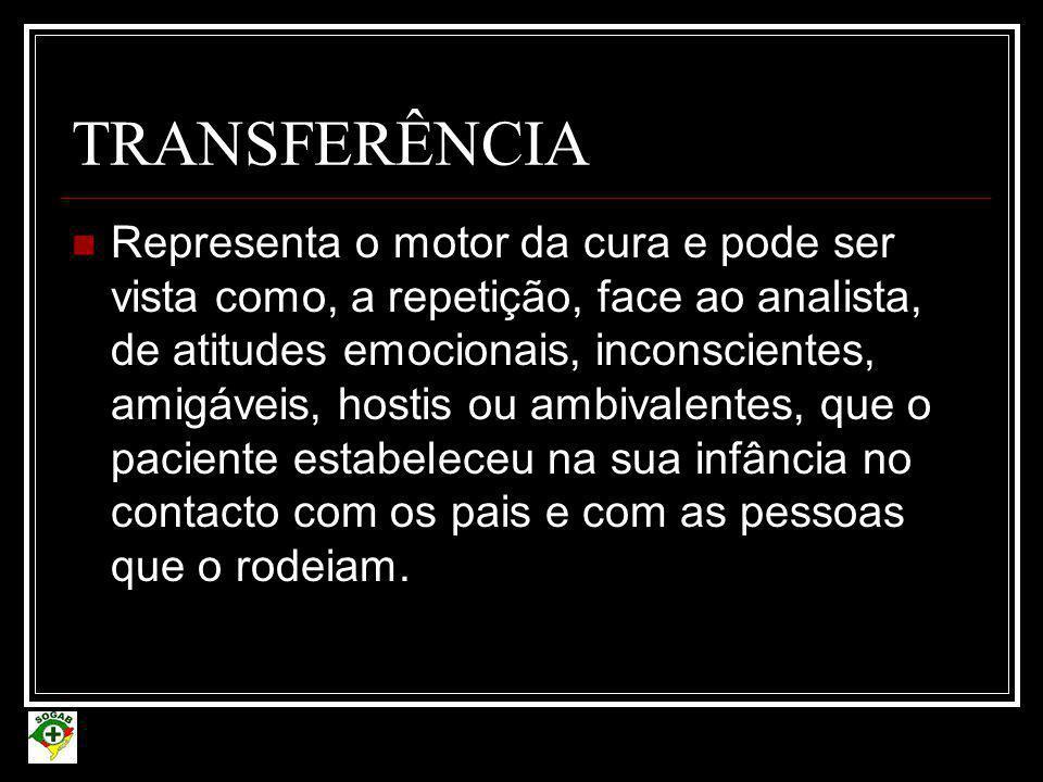 TRANSFERÊNCIA  Representa o motor da cura e pode ser vista como, a repetição, face ao analista, de atitudes emocionais, inconscientes, amigáveis, hos
