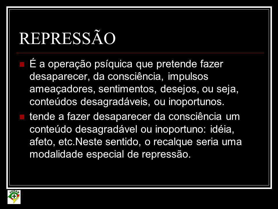 REPRESSÃO  É a operação psíquica que pretende fazer desaparecer, da consciência, impulsos ameaçadores, sentimentos, desejos, ou seja, conteúdos desag