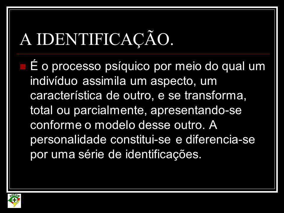 A IDENTIFICAÇÃO.  É o processo psíquico por meio do qual um indivíduo assimila um aspecto, um característica de outro, e se transforma, total ou parc