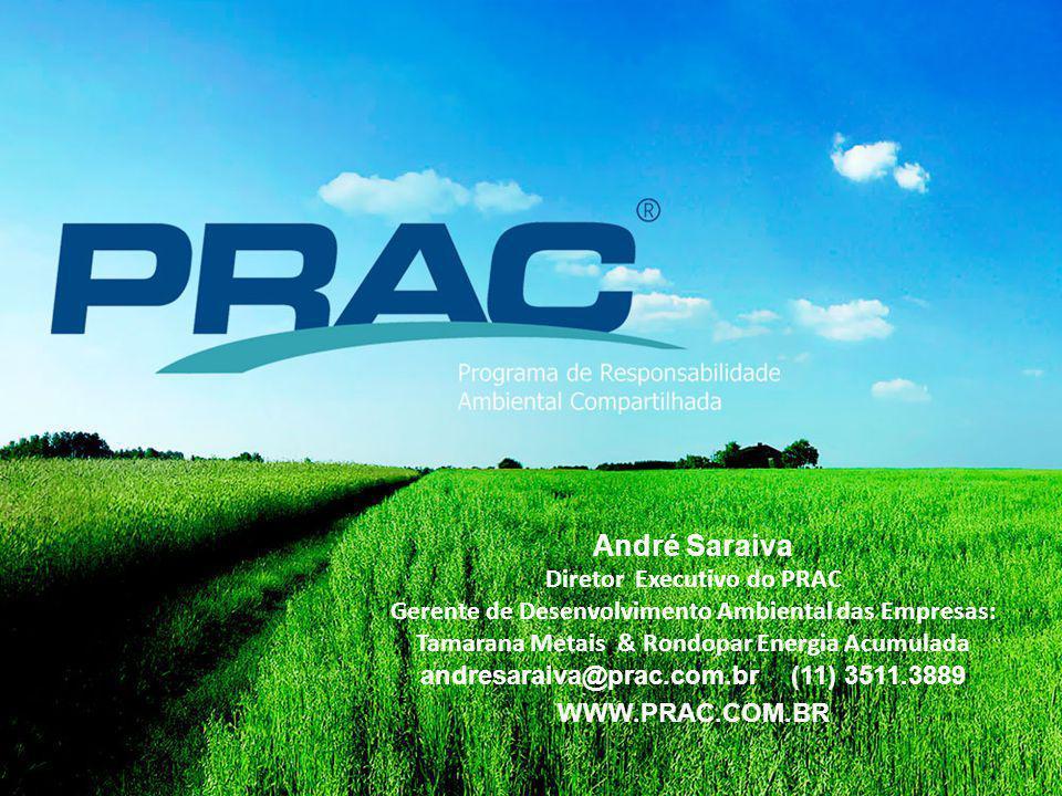André Saraiva Diretor Executivo do PRAC Gerente de Desenvolvimento Ambiental das Empresas: Tamarana Metais & Rondopar Energia Acumulada andresaraiva@prac.com.br (11) 3511.3889 WWW.PRAC.COM.BR