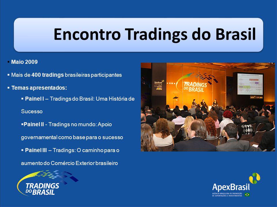 Encontro Tradings do Brasil  Maio 2009  Mais de 400 tradings brasileiras participantes  Temas apresentados:  Painel I – Tradings do Brasil: Uma Hi