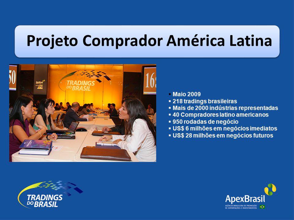 Projeto Comprador América Latina  Maio 2009  218 tradings brasileiras  Mais de 2000 indústrias representadas  40 Compradores latino americanos  950 rodadas de negócio  US$ 6 milhões em negócios imediatos  US$ 28 milhões em negócios futuros