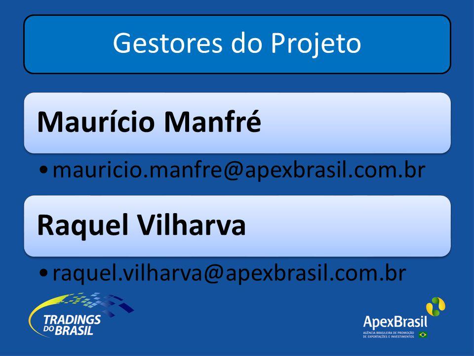Gestores do Projeto Maurício Manfré •mauricio.manfre@apexbrasil.com.br Raquel Vilharva •raquel.vilharva@apexbrasil.com.br