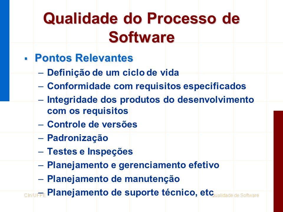 Qualidade de SoftwareCIn/UFPE Qualidade do Processo de Software  Pontos Relevantes –Definição de um ciclo de vida –Conformidade com requisitos especi