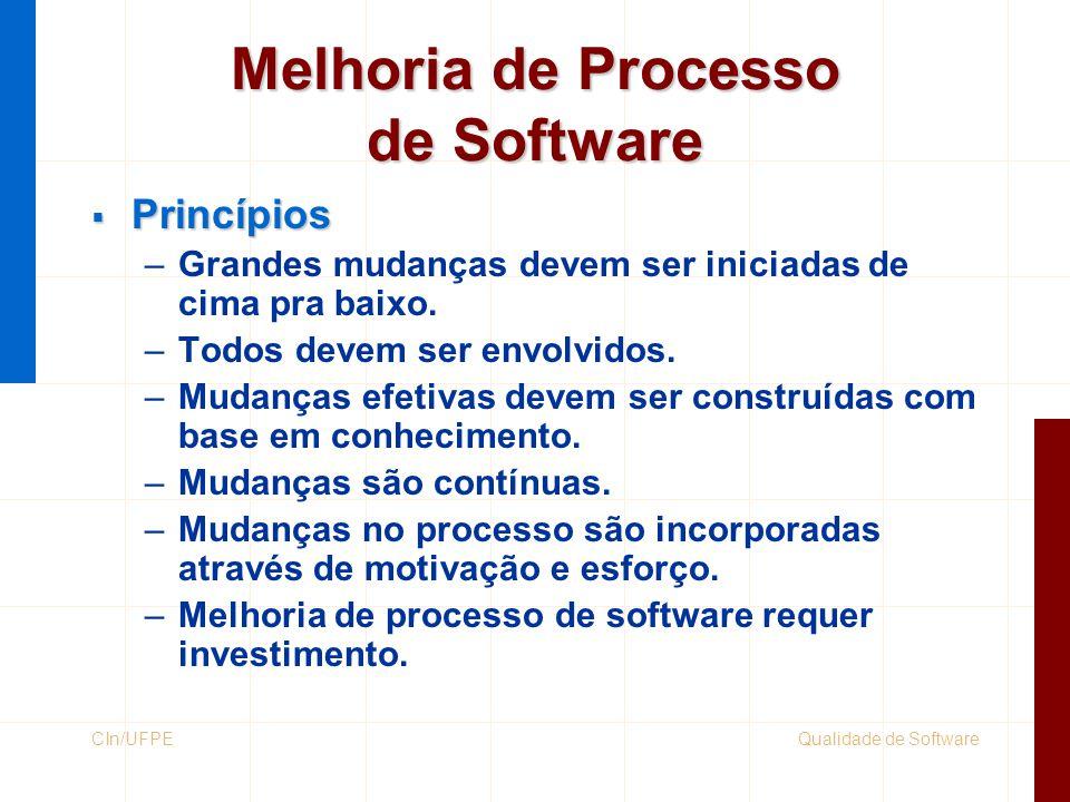 Qualidade de SoftwareCIn/UFPE Melhoria de Processo de Software  Princípios –Grandes mudanças devem ser iniciadas de cima pra baixo. –Todos devem ser