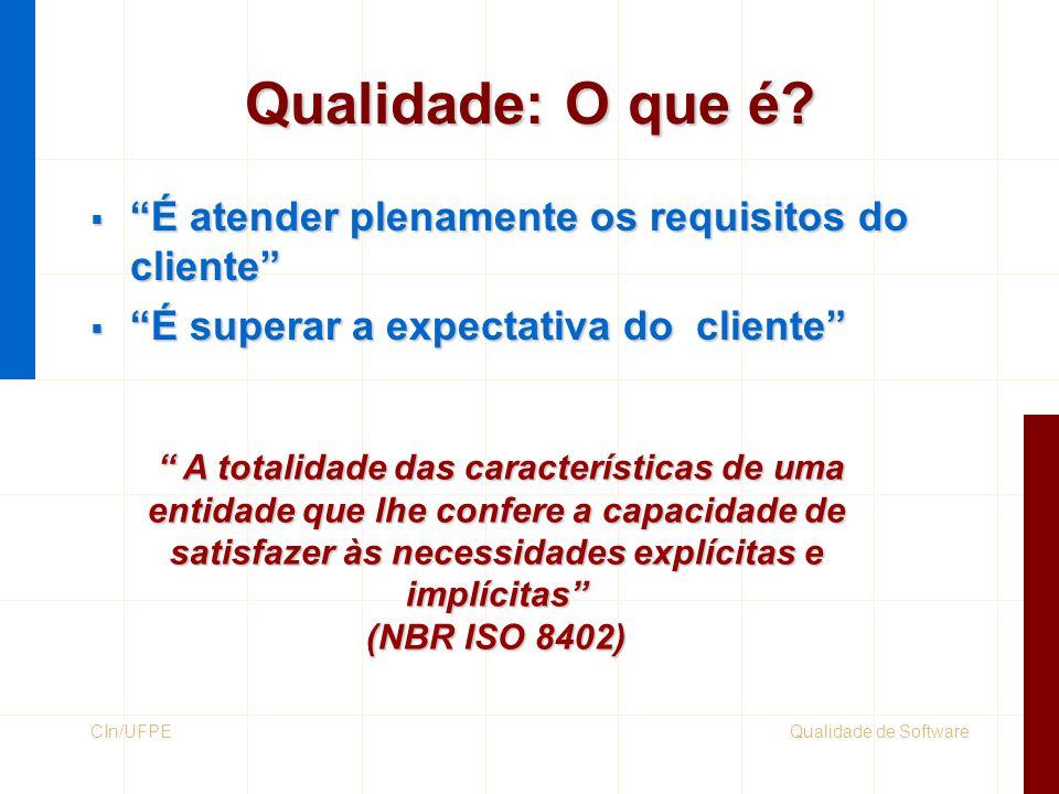 Qualidade de SoftwareCIn/UFPE Benefícios da Qualidade  Redução de defeitos  Aumento da confiabilidade do produto  Menos esforço de re-trabalho  Redução de custo de desenvolvimento e manutenção  Maior índice de satisfação