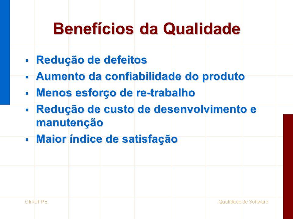 Qualidade de SoftwareCIn/UFPE Evolução Total Quality Management Garantia da Qualidade Controle da Qualidade Inspeção Detecção de Erro Retificação Métodos estatísticos Desempenho de processo Padrões de qualidade Sistemas da Qualidade Custo da qualidade Solução de problemas Planejamento da qualidade Estratégia de qualidade Grupos de trabalho Envolvimento de clientes e fornecedores
