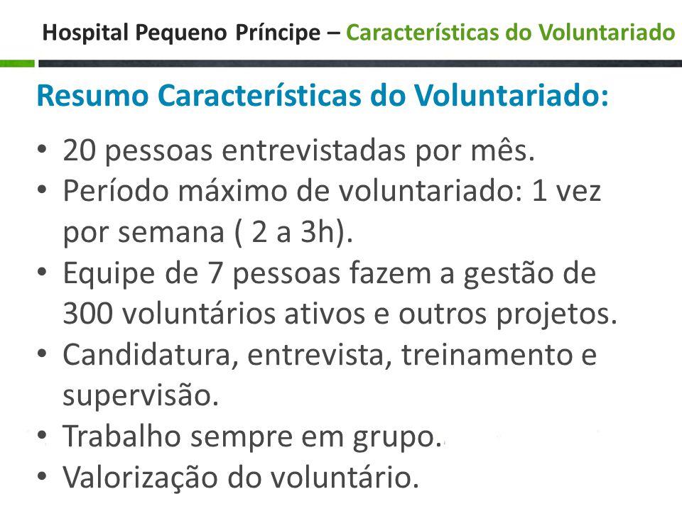 Hospital Pequeno Príncipe – Características do Voluntariado Resumo Características do Voluntariado: • 20 pessoas entrevistadas por mês.