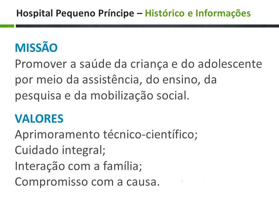 Hospital Pequeno Príncipe – Histórico e Informações MISSÃO Promover a saúde da criança e do adolescente por meio da assistência, do ensino, da pesquisa e da mobilização social.
