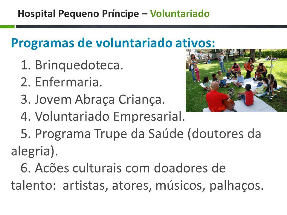 Hospital Pequeno Príncipe – Voluntariado Programas de voluntariado ativos: 1.