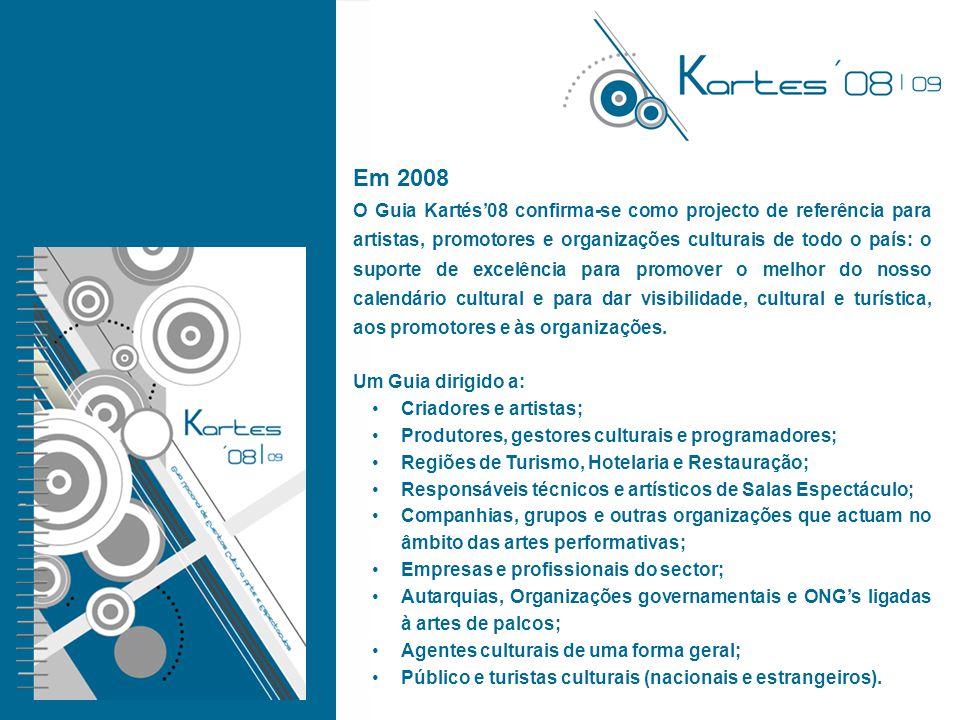 Em 2008 O Guia Kartés'08 confirma-se como projecto de referência para artistas, promotores e organizações culturais de todo o país: o suporte de excelência para promover o melhor do nosso calendário cultural e para dar visibilidade, cultural e turística, aos promotores e às organizações.