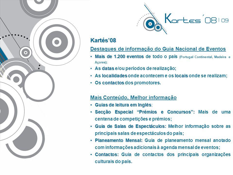 Kartés'08 Destaques de informação do Guia Nacional de Eventos •Mais de 1.200 eventos •Mais de 1.200 eventos de todo o país (Portugal Continental, Made