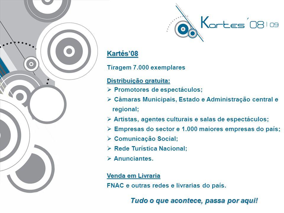 Kartés'08 Tiragem 7.000 exemplares Distribuição gratuita:  Promotores de espectáculos;  Câmaras Municipais, Estado e Administração central e regiona